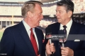 Baseball: MLB All Star Game: Former United States President Ronald Reagan (R) and NBC Sports announcer Vin Scully (L) in broadcast booth before game at Anaheim Stadium. Anaheim, CA 7/11/1989 CREDIT: V.J. Lovero (Photo by V.J. Lovero /Sports Illustrated/Getty Images) (Set Number: X38588 TK1 R1 F26 )