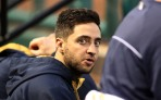 Injured Milwaukee Brewers Ryan Braun watches his team take on the St. Louis Cardinals from the bench at Busch Stadium in St. Louis on April 28, 2014.   UPI/Bill Greenblatt