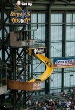 Bernie Brewer sliding down the slide